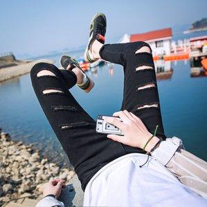 New Style Jeans Men Trend Slim Fit Jeans Men's Wear Black Ripped Capri Pants Skinny Jeans Boy's