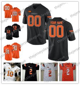 Custom Oklahoma State Cowboys Qualsiasi nome numero cucito nero bianco arancione # 81 Justin Blackmon 45 Chad Whitener NCAA College Football Jersey