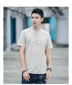 Tshirts cor sólida Casual botão leve Tees listrada de manga curta capuz Shirts Mens Verão Tops Roupa Fique Collar Mens Verão