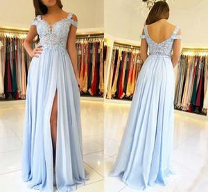 2020 Günstige Baby Blue Spitze Appliqued A-Linie Abendkleid Elehant Chiffon Side Split Wedding Guest Kleid plus Größe Abschlussball-Abend-Partei-Kleid