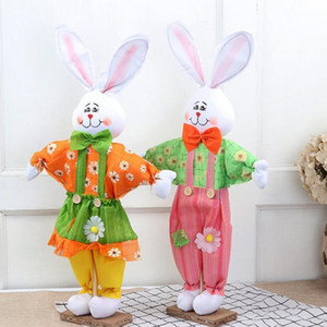 67 * 38cm Netter Osterhase stehend Kaninchen-Plüsch-Puppe für Mall Geschäfte Osterferien Dekoration Anzug für Party-Speicher-Hausgarten