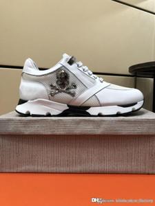 Hommes en cuir baskets Punk Style Runner, chaussures décontractées PP décorées avec emblématique crâne en métal pour le temps libre taille 38-45