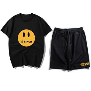 erkekler Tişörtlü 2020 erkek ve kadın tişört + pantolon Drew Evi Baskı kısa kollu t shirt Gülümseme set Justin Bieber Tarzı yaz adam