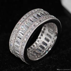 Key4fashion Free en gros Nouveau nice Full Princesse coupe blanche Topaze Diamonique Diamant Simulé 10KT Or Blanc GF Bague De Mariage Anneau Sz 5-11