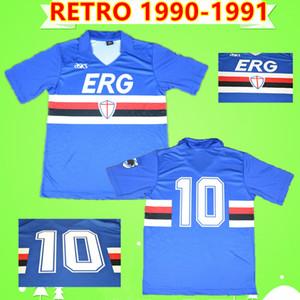 Retro Sampdoria 1990 1991 futbol formaları Lombardo ANA MAVİ Mancini klasik formalarını bağbozumu Vialli Branca Vierchowod üniformalar