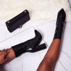 2019 Kadınlar Ayak bileği Boots 11.5cm Yüksek Topuklar Striptizci Kara Yılan Cilt Baskı Boots Pleaser Blok Topuklar Chunky Patik Ayakkabı Sonbahar