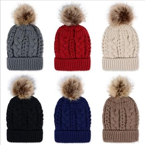 Winter Thick double layer Colorful Snow Caps Wool Knitted Beanie Hat With Artificial Raccoon Fur Pom Poms For Women Men Hip Hop cap b277
