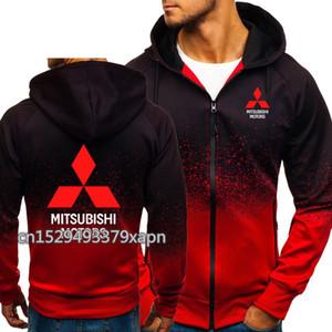 Felpe Uomini Mitsubishi Logo stampa casuale HipHop Harajuku sfumatura di colore in pile con cappuccio Felpe zip Jacket Abbigliamento Uomo