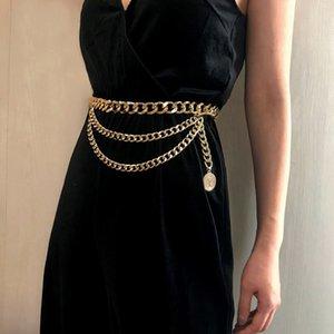 Vestido de la correa de cuero de lujo de correa del metal para las mujeres retro punky de la franja de la cintura de plata de señoras dorado Marca borla de la cadena femenina 480
