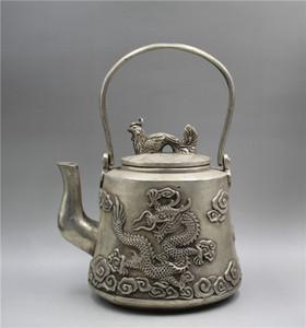 Cinese Tibet argento lavoro manuale scolpito Dragon phoenix statua teiera w Xuande Mark