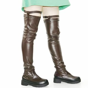 Elastic Slim Leg Riding Boots Women Stretch Buckle Over The Knee Boots Punk Long Sneakers Platform Oxfords Shoes Goth Creepers