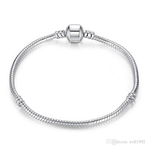 Cadena de plata 1pcs envío de la gota pulseras plateadas de las mujeres de la serpiente granos del encanto de pandora perlas pulsera del brazalete del regalo de los niños B001
