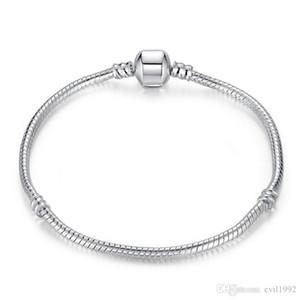 1 unids envío de gota pulseras plateadas plateadas mujeres serpientes cadena encanto cuentas para Pandora Beads Brazalete Brazalete Niños Regalo B001