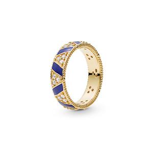 2019 NUEVA llegada de 18 quilates de oro amarillo de las mujeres para hombre del anillo caja original para Pandora exótico Piedras Stripees anillo de diseño de lujo conjunto anillos