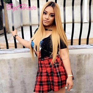 Bythair Virgin Human Hair Full Lace Wigs Straight Ombre 1b 27 Color Brazilian Long Hair Lace Front Wigs For Black Women