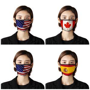 Adulte antipoussière Masques visage Usa Japon Canada Drapeau Imprimer Anti Droplet Protection Respiratoire Mascherine Uvproof Masque bouche 2 7BR E19