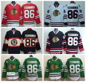 Мужчины 86 Teuvo Teravainen Jersey Чикаго Блэкхокс Трикотажные изделия для хоккея с шайбой Teravainen Черный Красный Белый Зеленый Цвет команды Сшитое качество