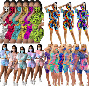 Women D63007 Shorts Pullover Tshirt Crop And Top Pants Short Outfits Sports Face With Tie-dye Casual 3PCS Suit Gradient Mask Suit Track Cqct