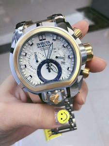 2020 스위스 COSC 최고 완벽한 품질 원래 INVICTA 브랜드 대형 다이얼 52mm 스테인레스 스틸 크로노 그래프 다기능 남성 석영 시계