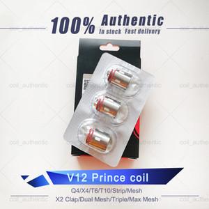 100% Original V12 Prince-Bobines Head T10 X6 Q4 M4 bande Mesh double Triple Max Mesh X2 Remplacement de base pour Clapton V12 Prince-réservoir DHL gratuit.