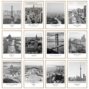 Siyah Beyaz Tuval Boyama Dünya Şehir Manzarası Paris Londra New York Poster Baskılar İskandinav Tarzı Duvar Sanatı Resim Ev Dekor