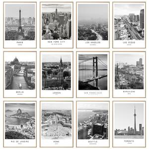 Black White Canvas pintura de paisagem Cidade Mundial de Paris Londres New York Poster Prints Nordic Estilo Wall Art Imagem Home Decor