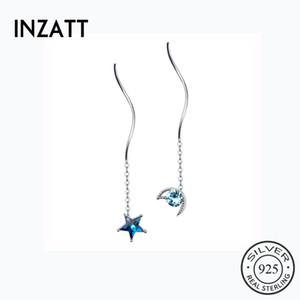 INZATT réel argent 925 étoiles Blue Moon Zircon Boucles d'oreilles Asymétrie court Tassel élégant pour les femmes Beho Fine Jewelry