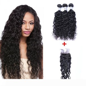 Brazilian Natural Wave Human Virgin Hair Weaves With 4x4 Lace Closure Bleached Knots 100g pc Natural Color Double Wefts Hair Extensions