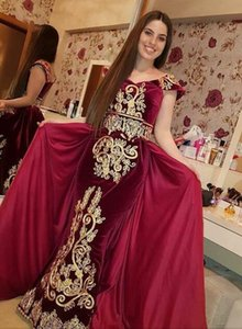Robe de soirée Yousef aijasmi Robe longue Manche appliques With-Trail Balayage train sirène rouge Zuhair murad Kim kardashian