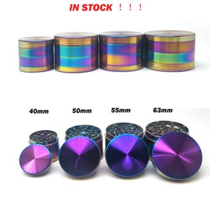 Ice Blue Grinder Rainbow Color 40 50 55 63mm 4 Layers Herb Grinder Zinc Alloy Tobacco Spice Crusher