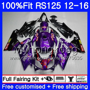 Injection Violet Noir Pour Aprilia RS-125 RS125RR RS4 RS125 12 13 14 15 16 315HM.20 RSV125 RS 125 2012 2013 2014 2015 2016 Kit de carénage