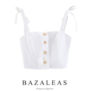 Bazaleas Vintage Centre Buttons Cropped Cotton Basic donna Top Fashion Adjust Strap da donna Canotta drop shipping