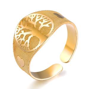 Hip Hop Дерево жизни Кольца мужские из нержавеющей стали Регулируемая Открытое кольцо Love Heart Ring Punk Vintage ювелирные изделия на День Женщины Мужчины Валентина подарок