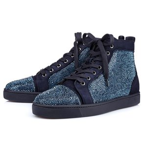 2020 Designer fashion Red Bottom Studded Spikes Flats shoes For Men Women glitter Party Lovers Genuine Leather casual Sneakers 36-47