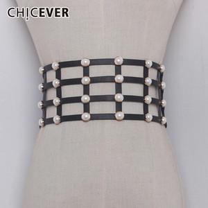 CHICEVER PU Leather Pearl Female Belt Corset Black Elasitc Wide Belts For Women Dress Cummerbund Belts Fashion Clothes Accessory Y191130