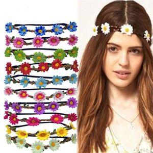Mulheres Floral Wedding Crown Daisy Guirlandas nupcial cabeça grinalda menina Hairband Bohemian estilo Praia Elastic headbands