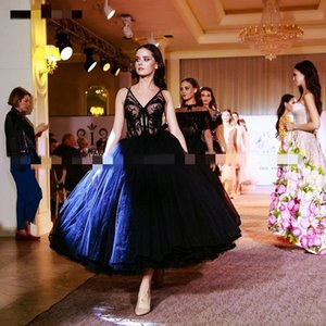 2020 New Arrival Short Tea Length Black Wedding Dresses V Neck Sexy Sheer Lace Top Princess Skirt Black Colored Bridal Gowns