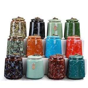 8. 3x11 mble Ceramic Metal Button Kitchen Tea Box Retro Tea Caddies Containment Box Porcelain Jar For Powder Coffee Jar