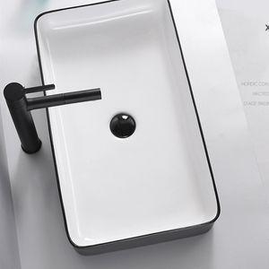 Accesorios del baño del lavabo del cuarto de cerámica del fregadero de la Cuenca del Contador blanco por encima con el tubo de desagüe Champú Fregaderos encimera