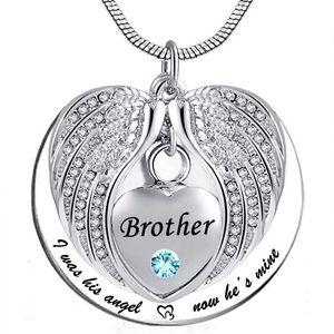 Unisex Melek Kanadı Birthstone Anıtı Keepsake Külleri Urn Kolye Kolye 'Ben onun açısı olmuştum, şimdi o benim'-Brother