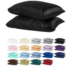 100% Polyester-Satin-Kissen-einfache Art Simulierte Seide einfarbig Pillowcase Weiche glänzende Extra-Komfort Einzel VT1421 Glatte