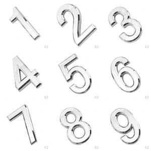 18pcs 1-9 Silver House 3D Номер Налет значных Стикер знак для двери почтового ящика