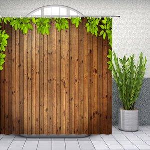 Foglie tema Tende da doccia verde piante a foglia di legno Board Background Bagno Decor impermeabile cortina di stoffa Set Cheap