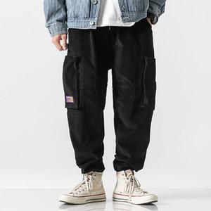 Men Vintage Fashion Corduroy Casual Cargo Pants Male Loose Multi-Pocket Streetwear Hip Hop Harem Trouser Jogger Sweatpants