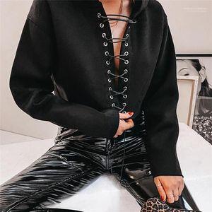 Couleur Bind Femmes Hoodies Femmes Vêtements décontractés Personality Trou lacer Femmes Designer Hoodies Mode en vrac solide
