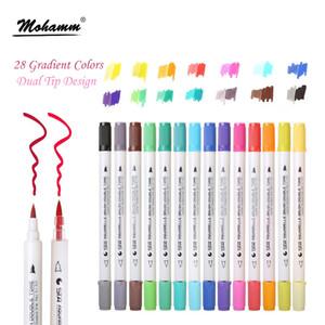 Sta 14 шт. / Лот 28 градиентных цветов двойной наконечник акварель кисти маркеры на водной основе надписи маркеры книжка-раскраска рисунок SH190715