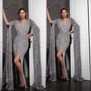 2020 Reflective Robes de bal col en V sirène sexy fendu sur le côté Robes de soirée à manches longues Silver Sequin piste robe de célébrité
