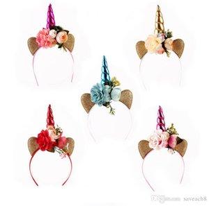 5 Renkler Çocuklar Parti Altın Unicorn Kafa Boynuz Altın Glittery Güzel Şapkalar Hairband Saç Aksesuarları