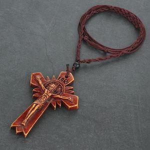 Мужчины Акрилового Распятие Кулон Ожерелье Красного Крест ожерелье Регулируемого Rope Плетение Цепь католических Религиозные ювелирные изделия IARI Neckless