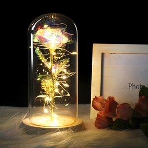 Ev Dekorasyon SICAK Güzel Güzellik Cam Kubbe İçin Düğün Anneler Günü Hediyesi olarak LED Işık ile Kırmızı Gül Altın kaplama